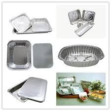 China Recyclable Aluminium Foil Containers Two Divisions For Takeaway Food 0.07mm distributor