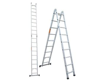 China No Painting Silver Folding Aluminum Ladder 6060 6061 6063 T4 T5 T6 High Strength factory